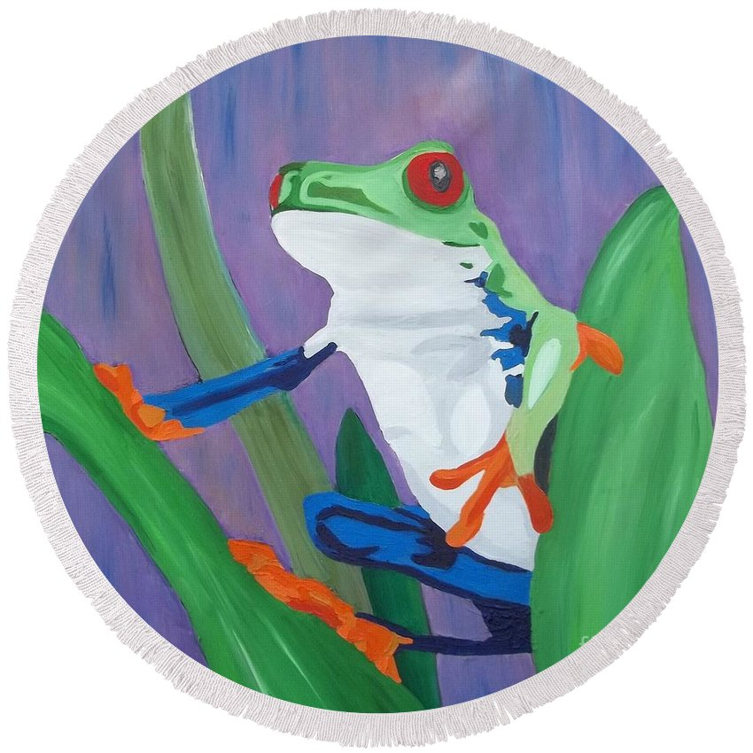 Frog Round Beach Towel featuring the painting Kaleidoscope  by Amy Pugh