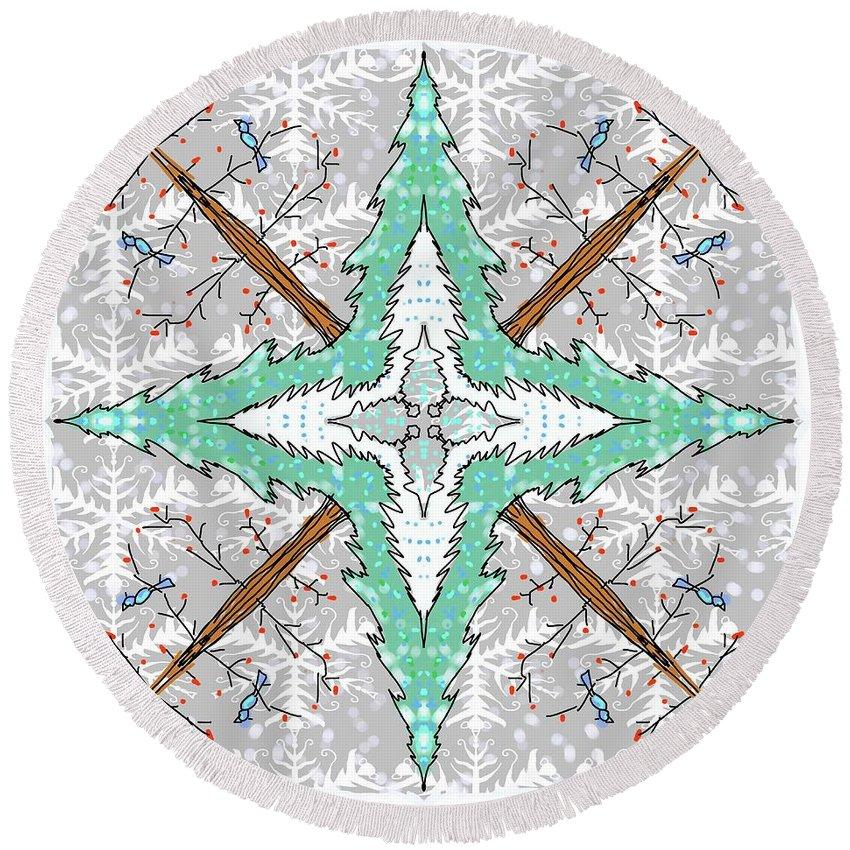 Kaleidoscope Round Beach Towel featuring the digital art Kaleidoscope Of Winter Trees by Debra Baldwin