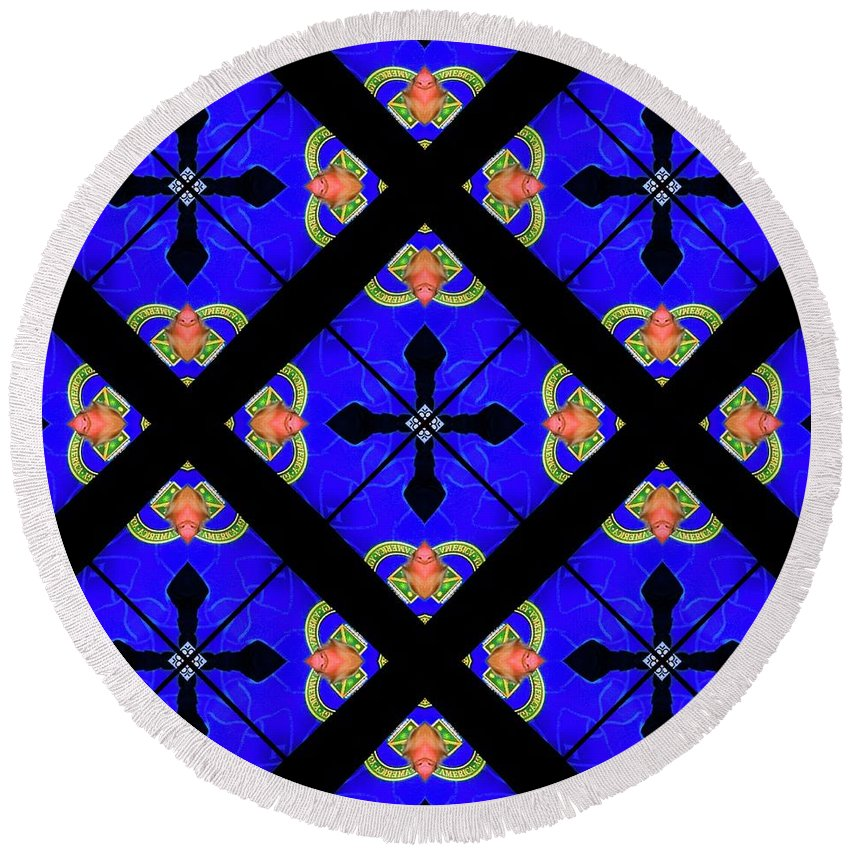 Digital Kaleidoscopes Round Beach Towel featuring the photograph Kaleidoscopes-02 by David Lange