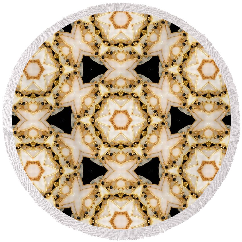 Digital Kaleidoscopes Round Beach Towel featuring the photograph Kaleidoscopes- 11 by David Lange