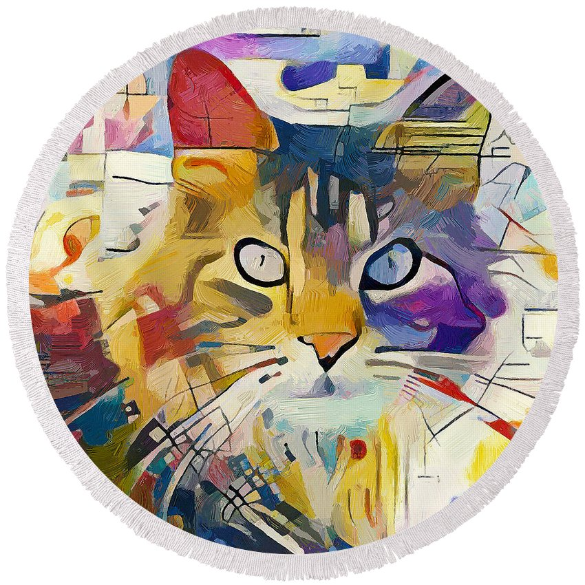 Kandinsky Round Beach Towel featuring the digital art Kandinsky Cat by Yury Malkov