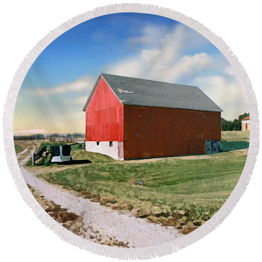 Barn Round Beach Towel featuring the photograph Kansas Landscape II by Steve Karol