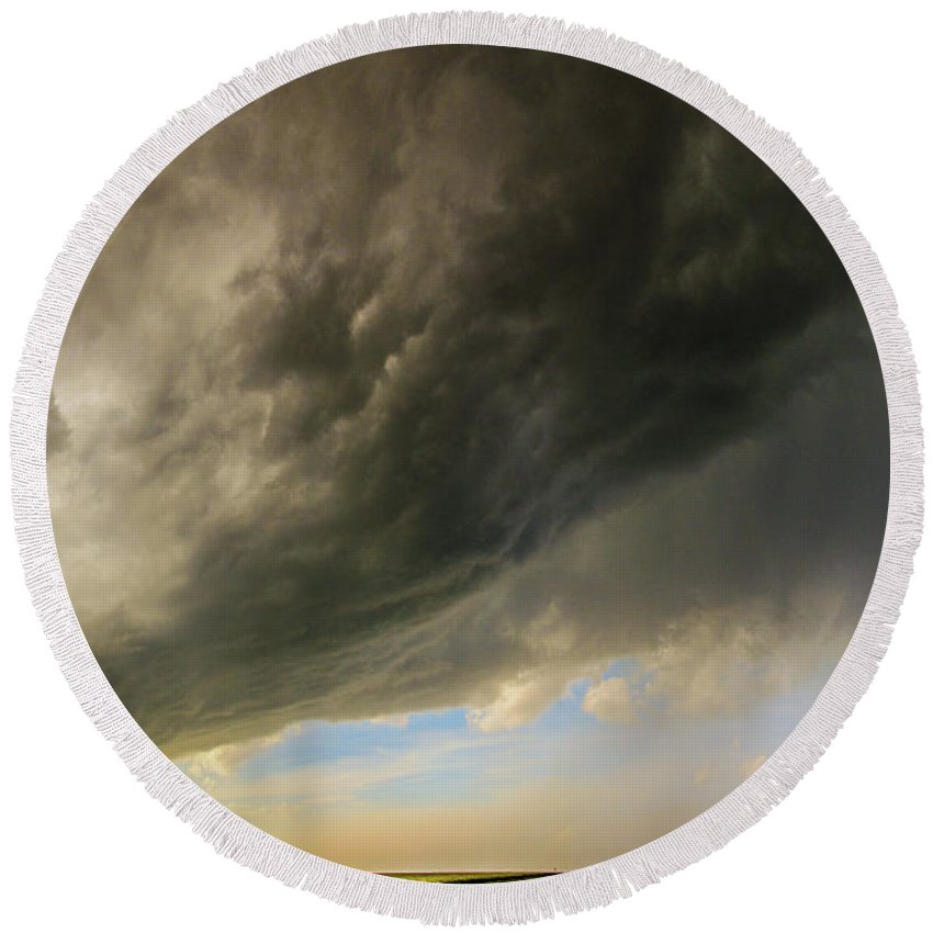 Nebraskasc Round Beach Towel featuring the photograph Kansas Storm Chasing 010 by NebraskaSC