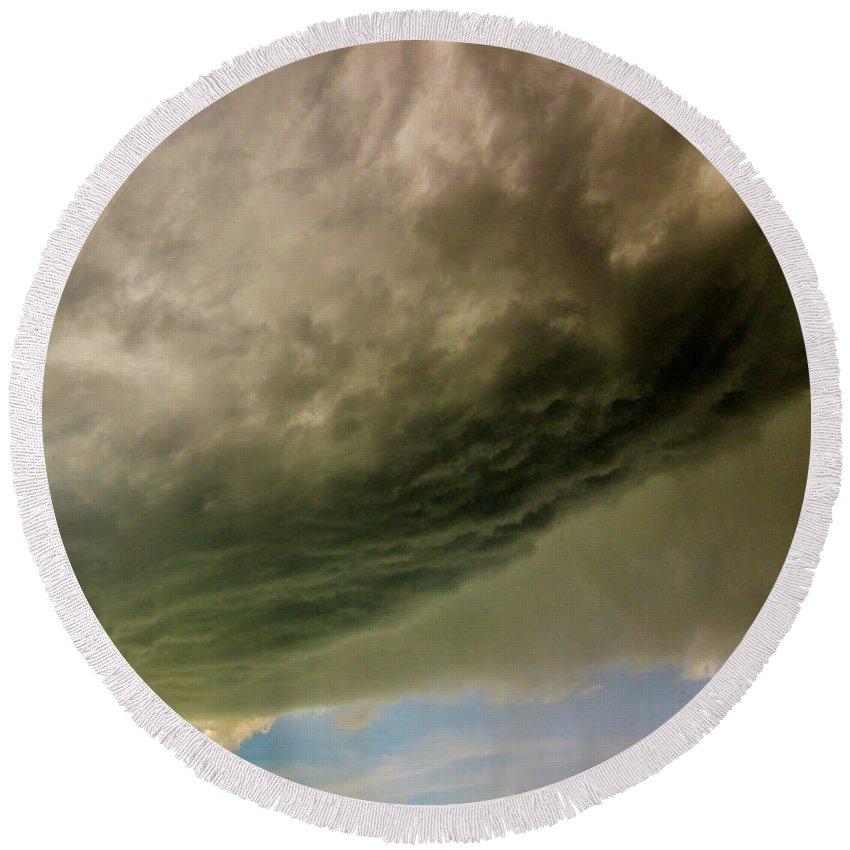 Nebraskasc Round Beach Towel featuring the photograph Kansas Storm Chasing 011 by NebraskaSC