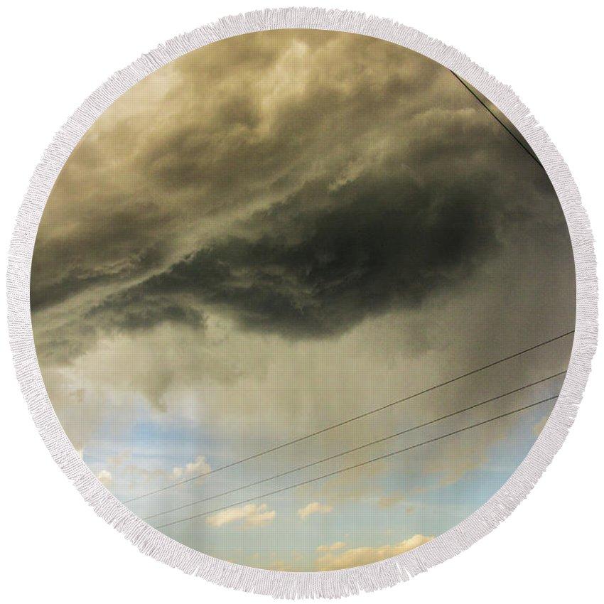 Nebraskasc Round Beach Towel featuring the photograph Kansas Storm Chasing 016 by NebraskaSC