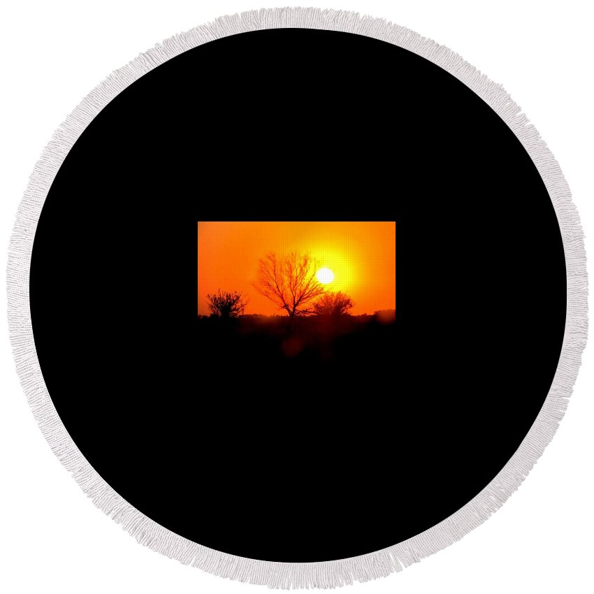 Sunset Round Beach Towel featuring the photograph Kansas Sunset by Kara Trauger