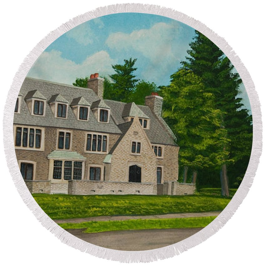 Kappa Delta Rho Frat House Round Beach Towel featuring the painting Kappa Delta Rho North View by Charlotte Blanchard