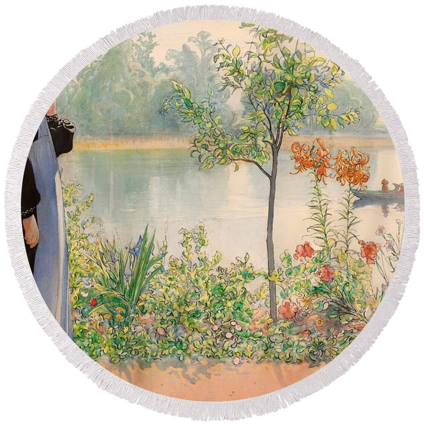 Painting Round Beach Towel featuring the painting Karin By The Shore by Mountain Dreams