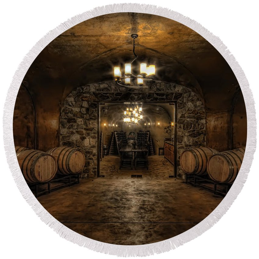 Hdr Round Beach Towel featuring the photograph Karma Winery Cave by Brad Granger