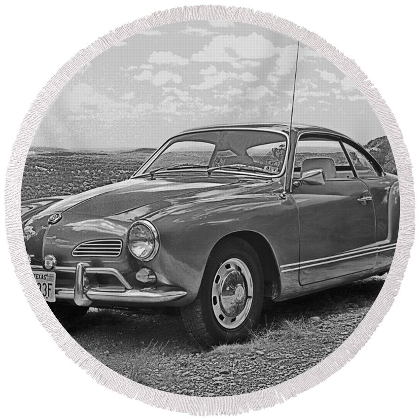 Old Automobiles Round Beach Towel featuring the photograph Karmann Ghia Coupe I I I by Jim Smith