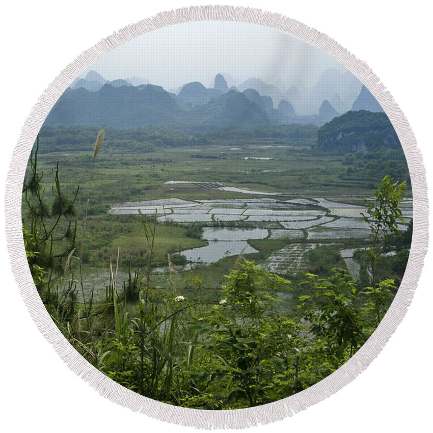 Asia Round Beach Towel featuring the photograph Karst Landscape of Guangxi by Michele Burgess