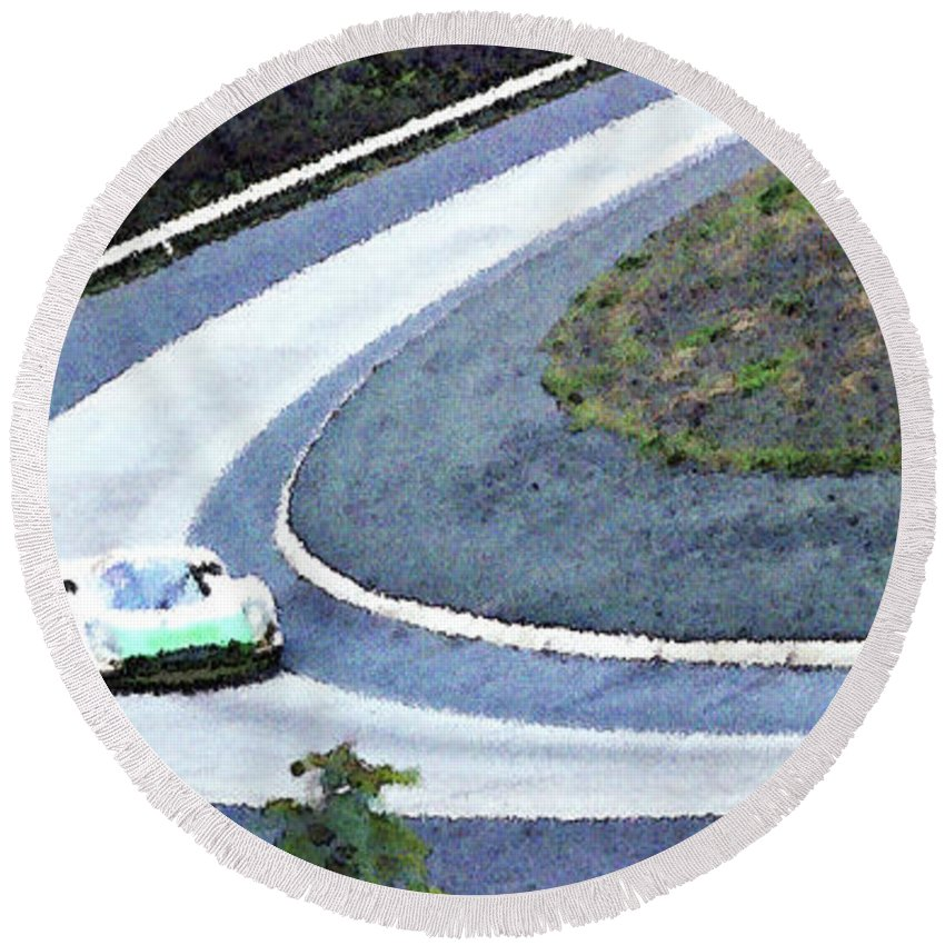 Automobile Round Beach Towel featuring the photograph Karussell Porsche by Alan Olmstead