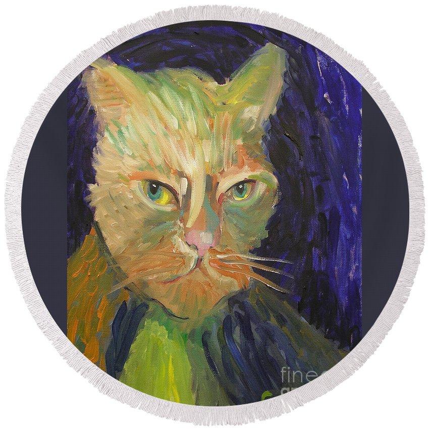 Van Gogh Round Beach Towel featuring the painting Kat-van-go by Gail Eisenfeld aka G Kitty Hansen