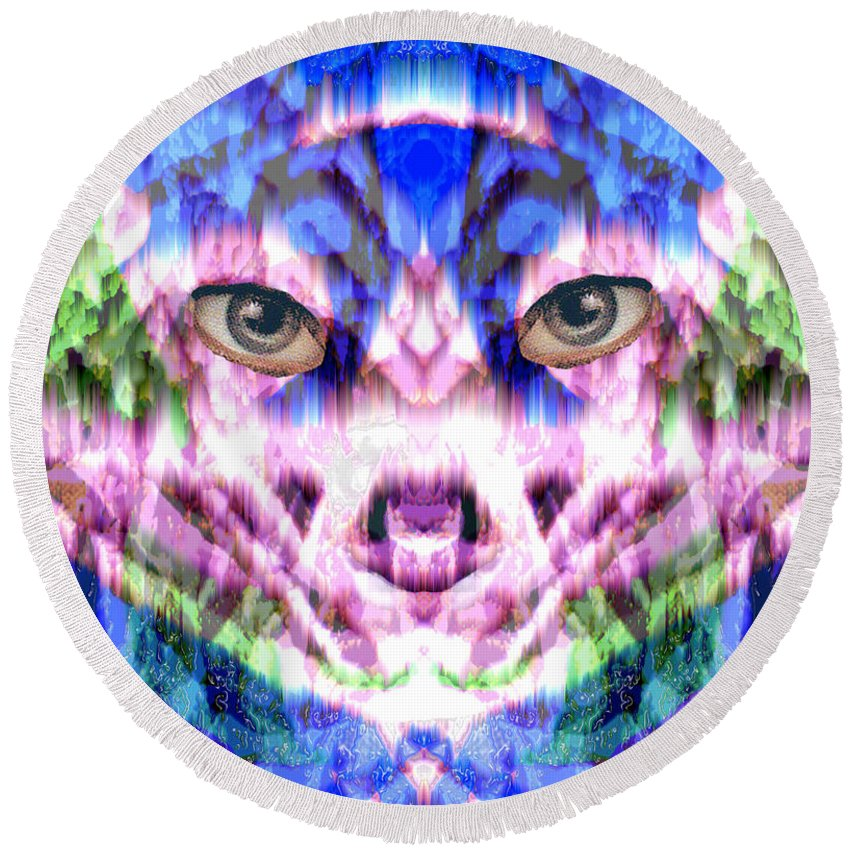 Cat Round Beach Towel featuring the digital art Katechism by Seth Weaver