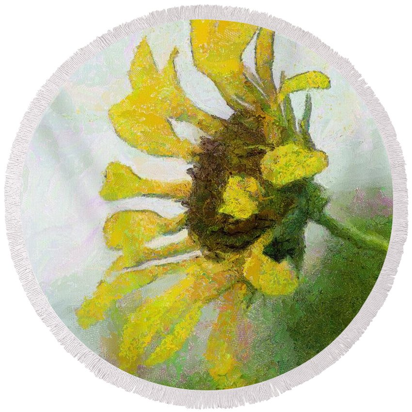 Sunflower Round Beach Towel featuring the painting Kate's Sunflower by Jeffrey Kolker