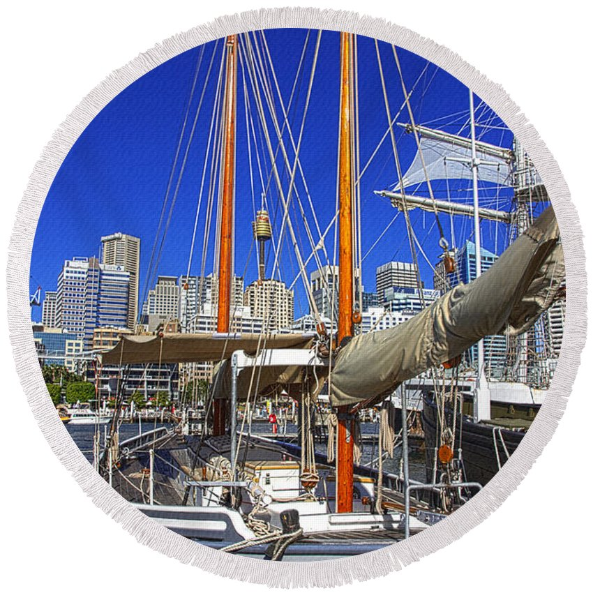 Kathleen Gillett Round Beach Towel featuring the photograph Kathleen Gillett The Artist Cruising Ketch by Miroslava Jurcik