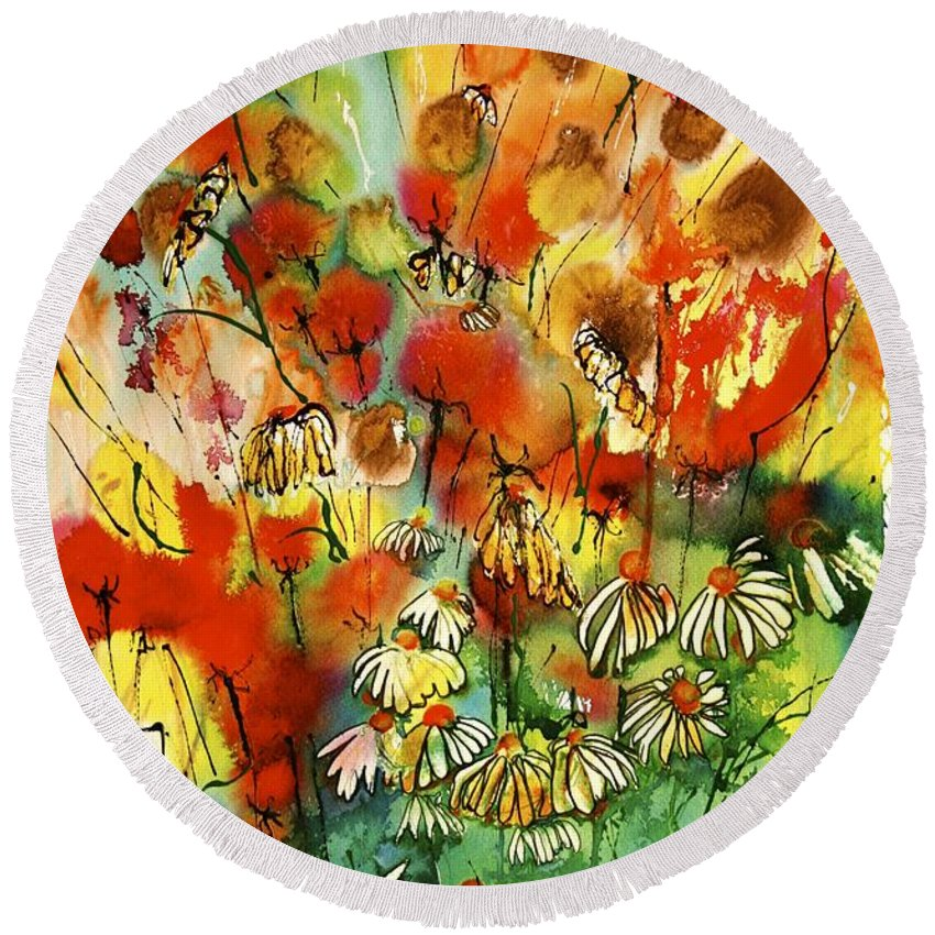 Floral Round Beach Towel featuring the painting Katie by Shirley Sykes Bracken