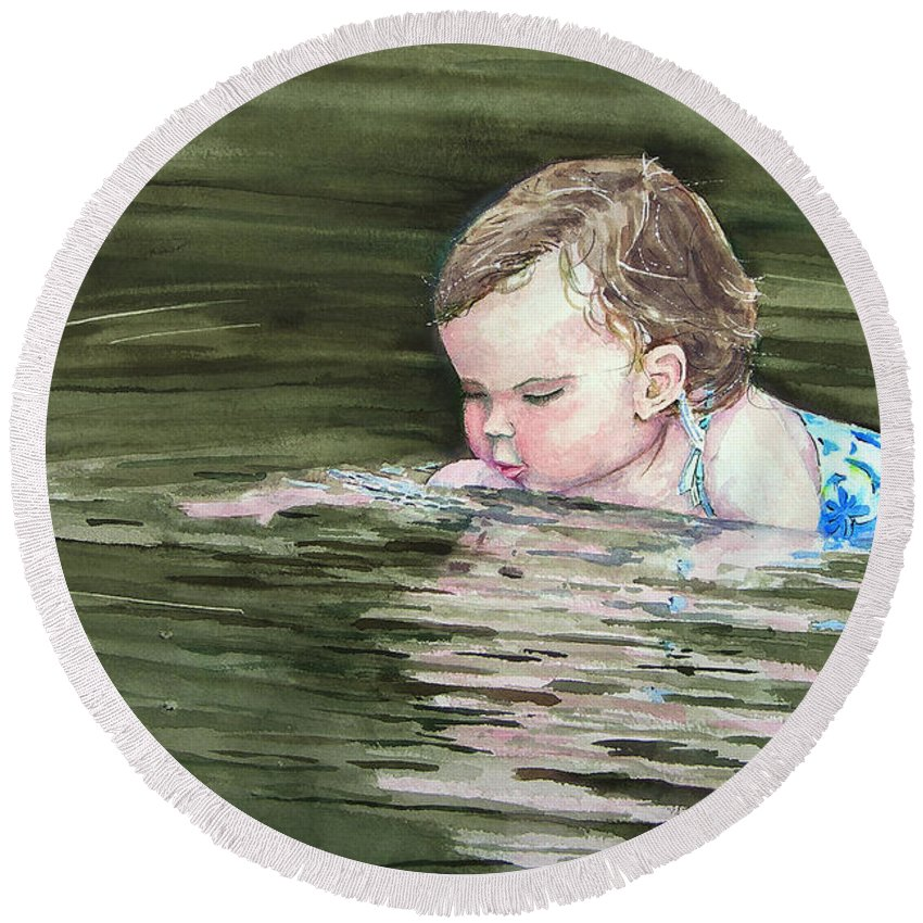 Child In River Round Beach Towel featuring the painting Katie Wants A River Rock by Sam Sidders