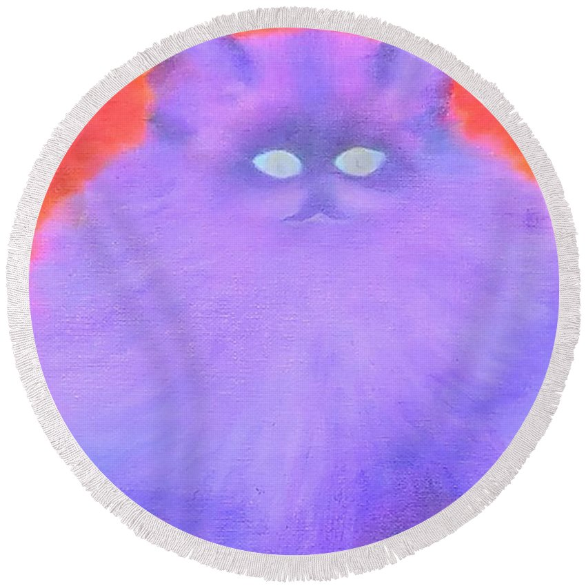 Himalayan Round Beach Towel featuring the painting Katy by Lynn Stevens