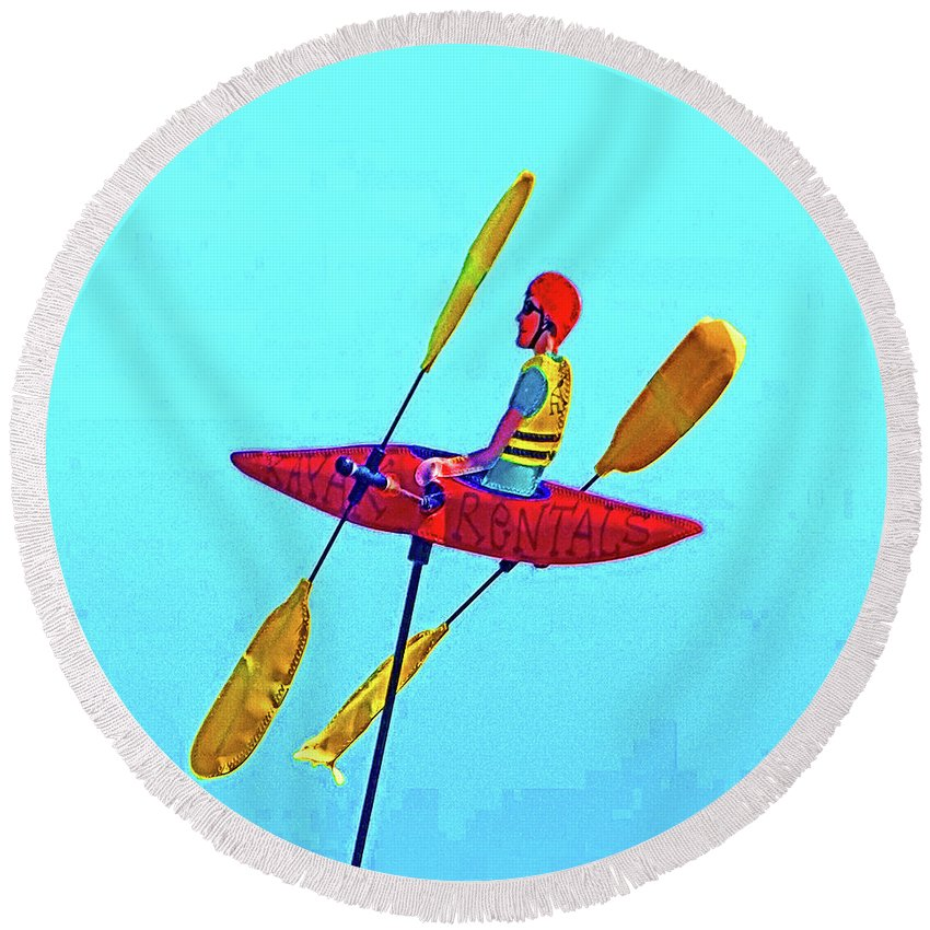 Kayak Round Beach Towel featuring the photograph Kayak Guy On A Stick by Joseph Coulombe