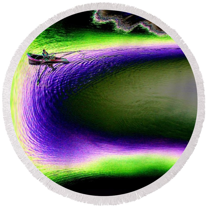 Seattle Round Beach Towel featuring the digital art Kayak In The Cut by Tim Allen