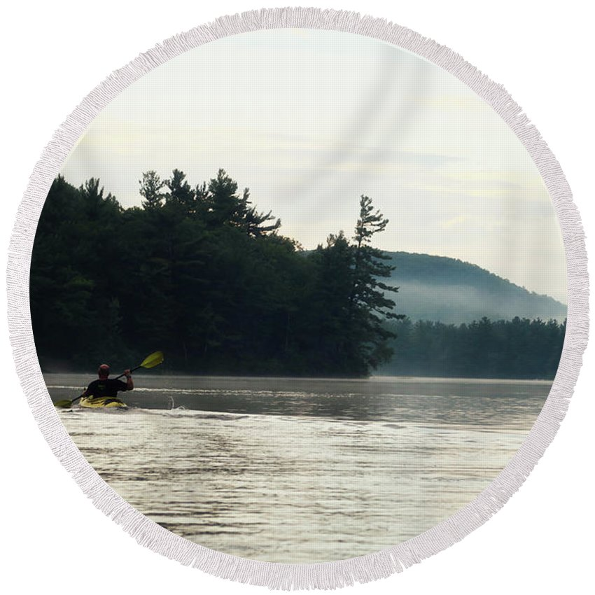 Landscape Round Beach Towel featuring the photograph Kayak In The Fog by Sue Collura