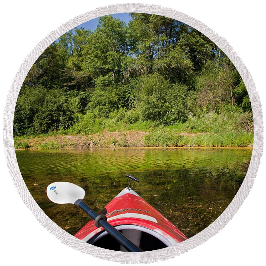 Boat Round Beach Towel featuring the photograph Kayak On A Forested Lake by Steve Gadomski