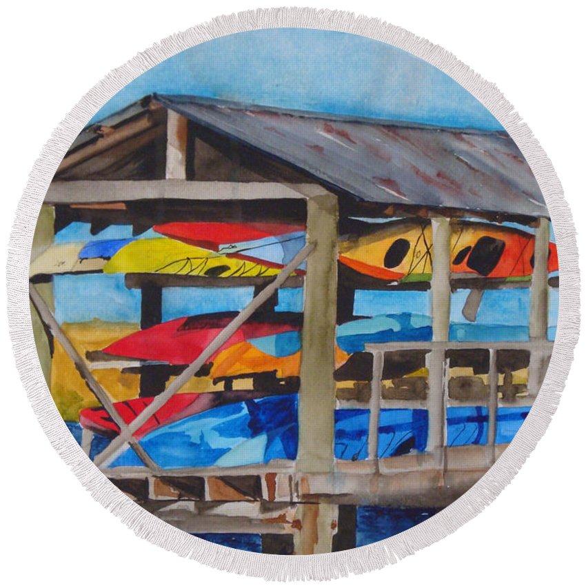 Kayak Round Beach Towel featuring the painting Kayak Rainbow by Jean Blackmer