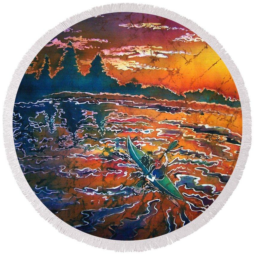 Kayak Round Beach Towel featuring the painting Kayak Serenity by Sue Duda