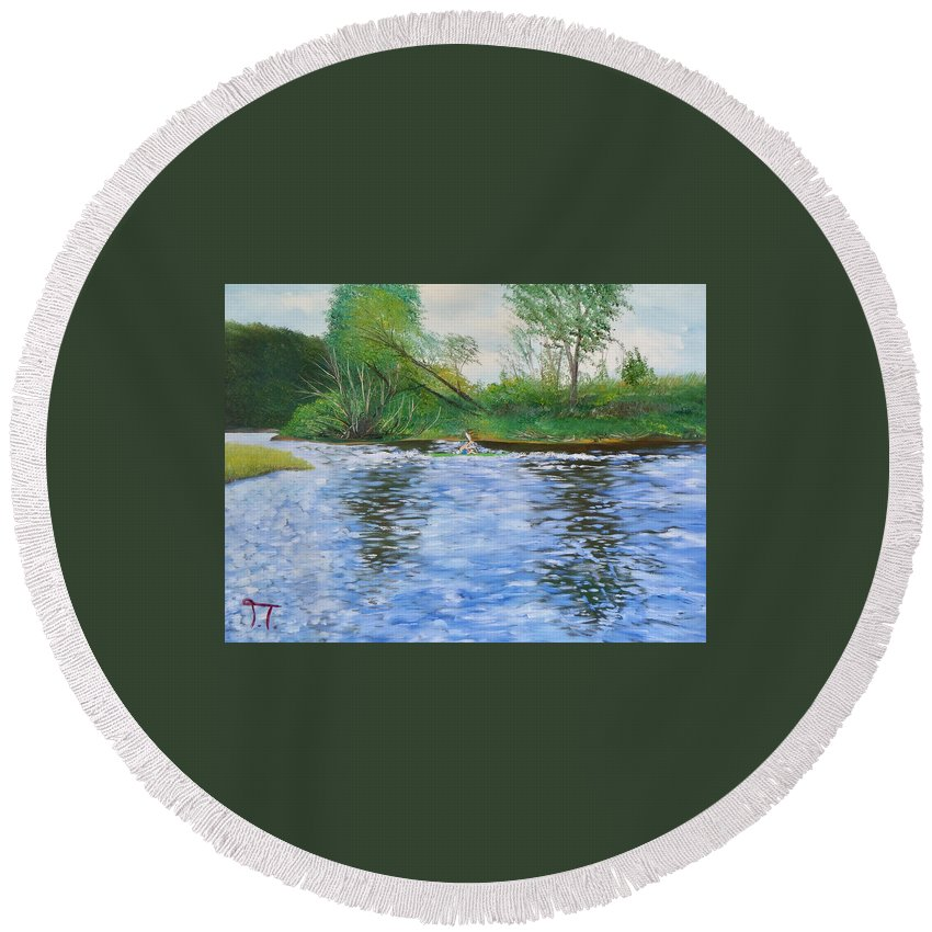 Kayaker On The Upper Iowa River Canoeing Kayaking Fishing Paddling Recreation Outdoors Camping Kendalvile Bluffton Iowa Decorah Iowa Round Beach Towel featuring the painting Kayaker On The Upper Iowa by Troy Thomas