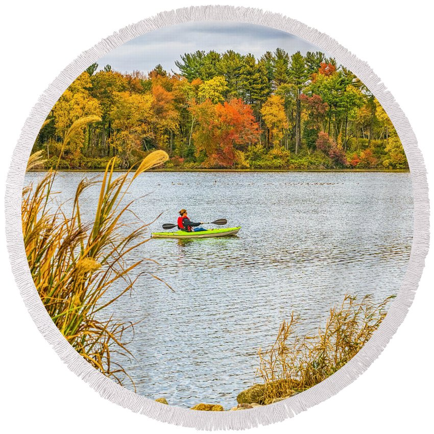 Kayak Round Beach Towel featuring the photograph Kayaking In Fall by Nick Zelinsky