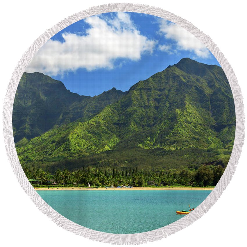 Kayak Round Beach Towel featuring the photograph Kayaks In Hanalei Bay by James Eddy