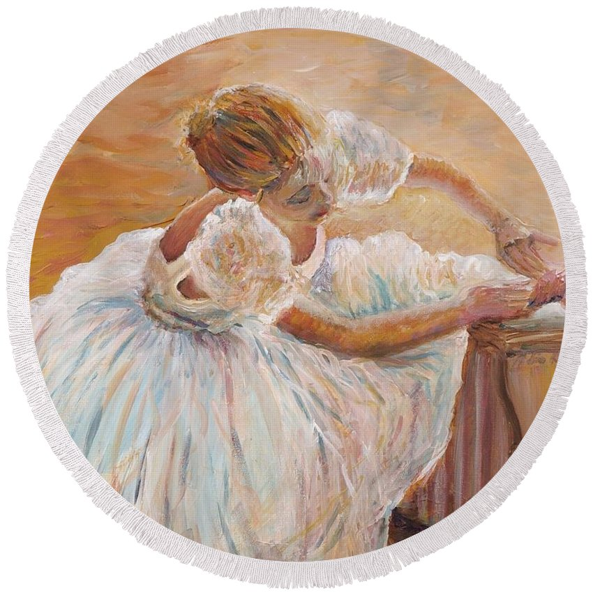 Dancer Round Beach Towel featuring the painting Kaylea by Nadine Rippelmeyer