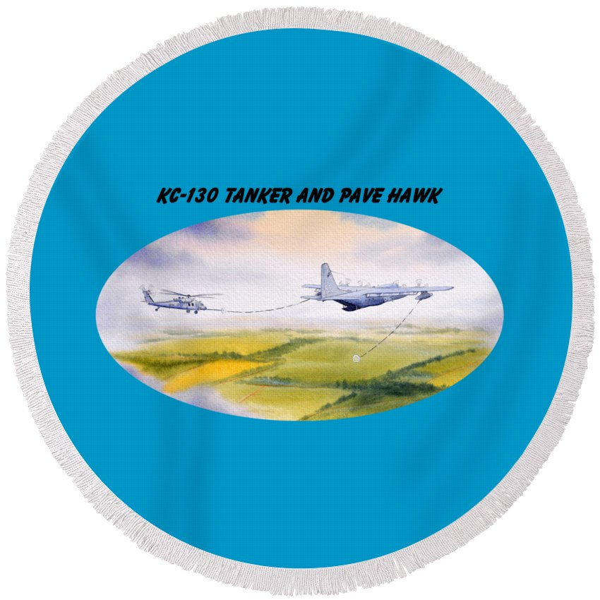 Kc 130 Tanker Aircraft With Banner Round Beach Towel featuring the painting Kc-130 Tanker Aircraft And Pave Hawk With Banner by Bill Holkham