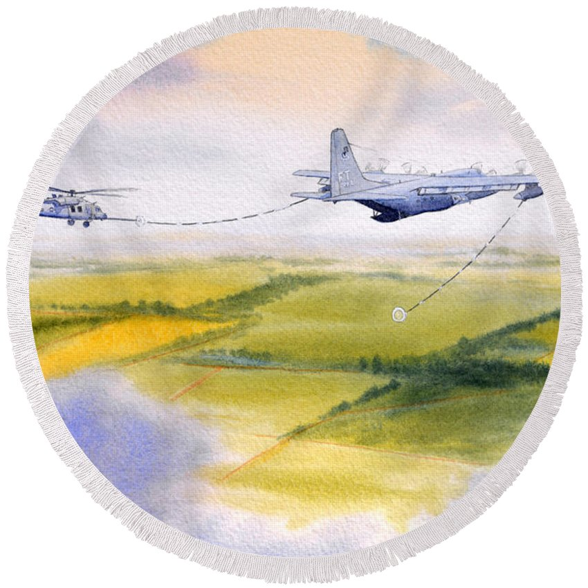 Kc 130 Tanker Aircraft Round Beach Towel featuring the painting Kc-130 Tanker Aircraft Refueling Pave Hawk by Bill Holkham