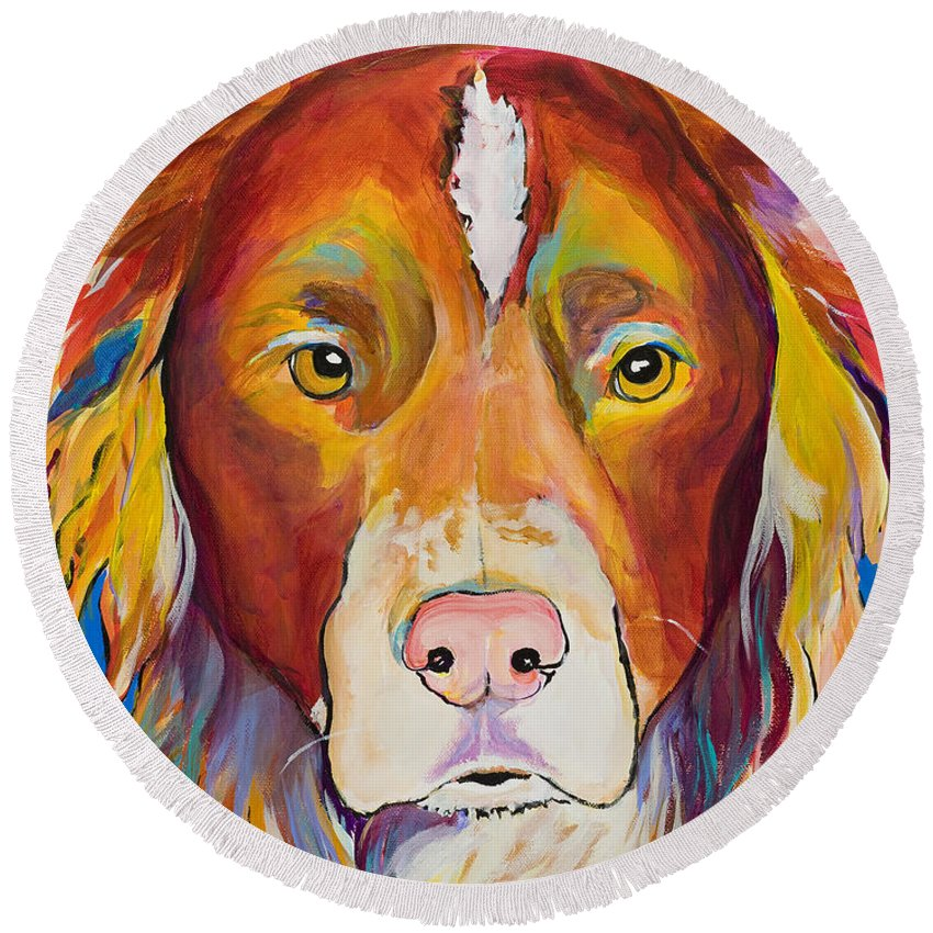 Australian Border Collie Round Beach Towel featuring the painting Keef by Pat Saunders-White