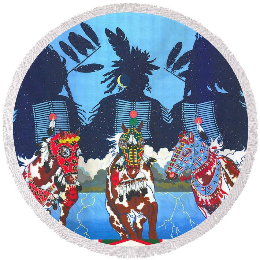 America Round Beach Towel featuring the painting Keepers Of The Law by Chholing Taha