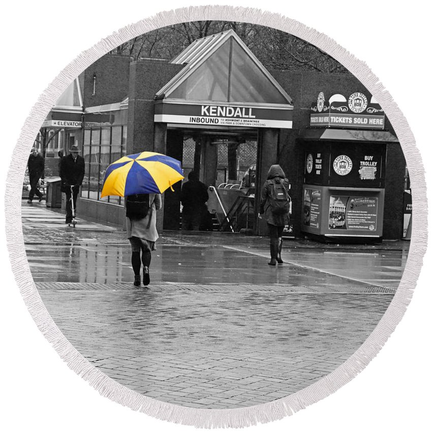 Kendall Round Beach Towel featuring the photograph Kendall Square Rainy Day Cambridge Ma Blue And Yellow by Toby McGuire