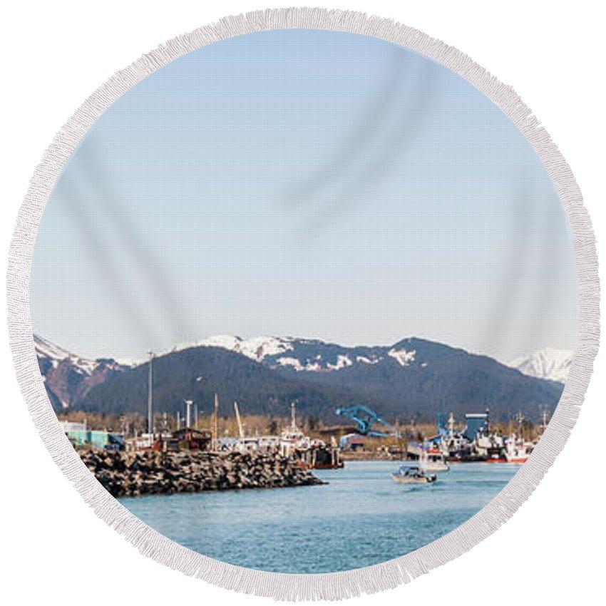 Alaska Round Beach Towel featuring the photograph Seward Alaska Kenia Fjord Port by Charles McCleanon
