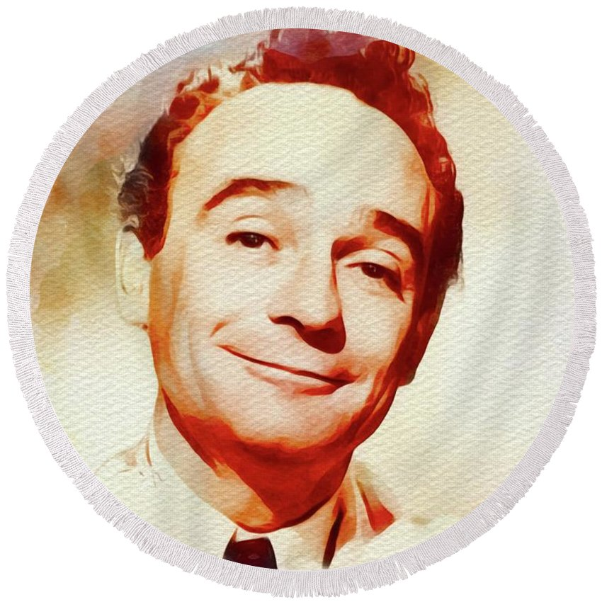 Kenneth Round Beach Towel featuring the painting Kenneth Connor, Carry On Films Cast by John Springfield