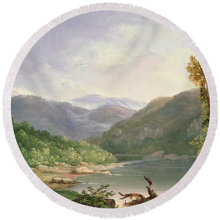 Kentucky River Round Beach Towel featuring the painting Kentucky River by Thomas Worthington Whittredge