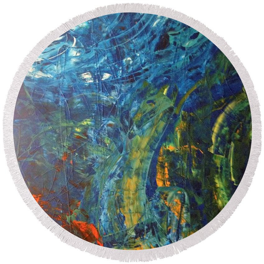 Abstract Art Round Beach Towel featuring the painting Kepler 452b by John Dossman