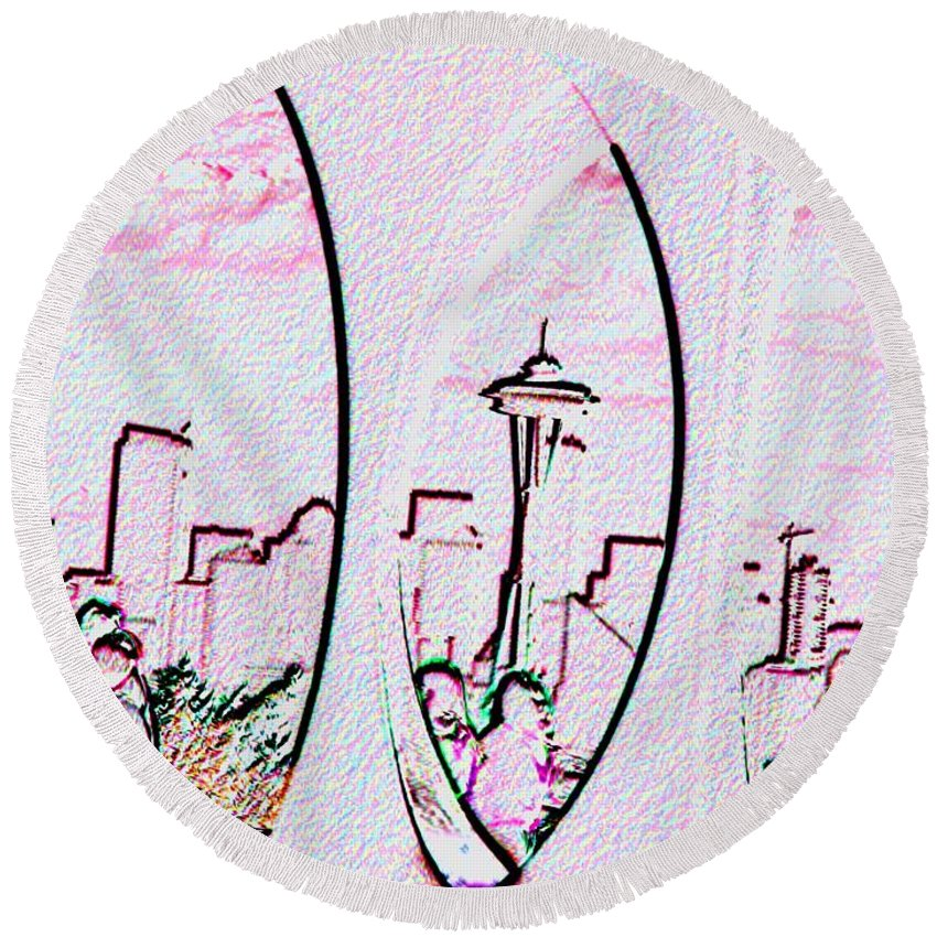 Seattle Round Beach Towel featuring the photograph Kerry Needle 2 by Tim Allen