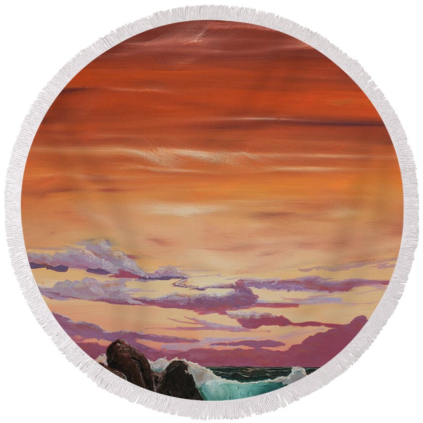 Round Beach Towel featuring the painting Kerry Sunset by Sheila Carey