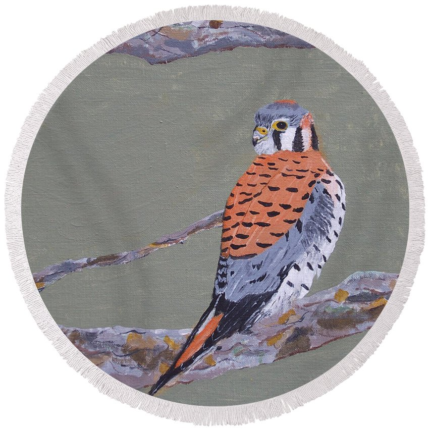 Birds Round Beach Towel featuring the painting Kestrel by Steven Marland