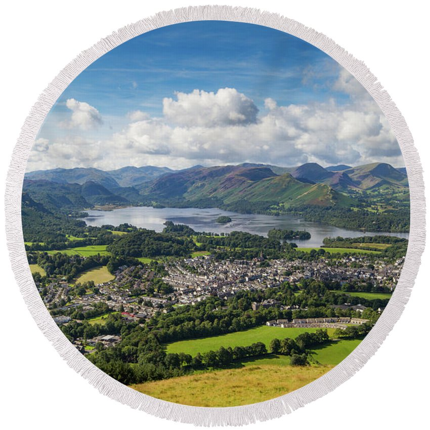 Cumbria Lake District Round Beach Towel featuring the photograph Keswick And Derwent Water View From Latrigg by Iordanis Pallikaras