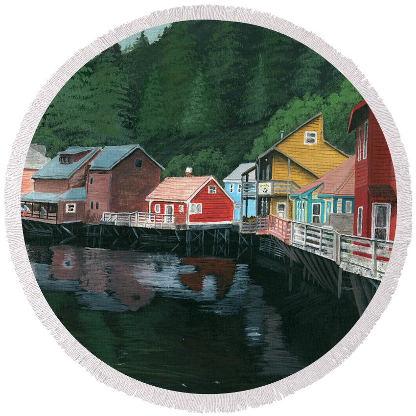 Ketchikan Round Beach Towel featuring the painting Ketchikan by Austin Price