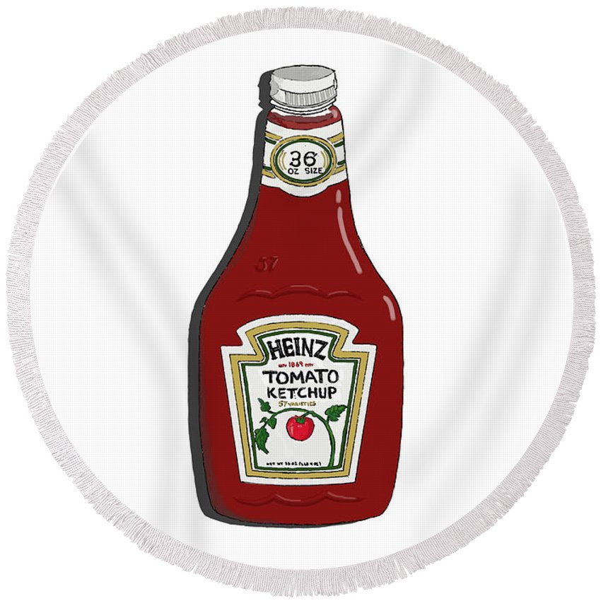 Ketchup Round Beach Towel featuring the painting Ketchup by George Pedro