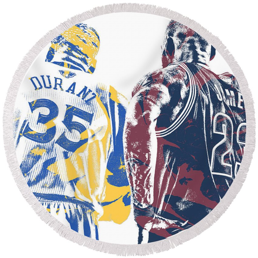 Kevin Durant Round Beach Towel featuring the mixed media Kevin Durant Warriors Lebron James Cavaliers Pixel Art by Joe Hamilton