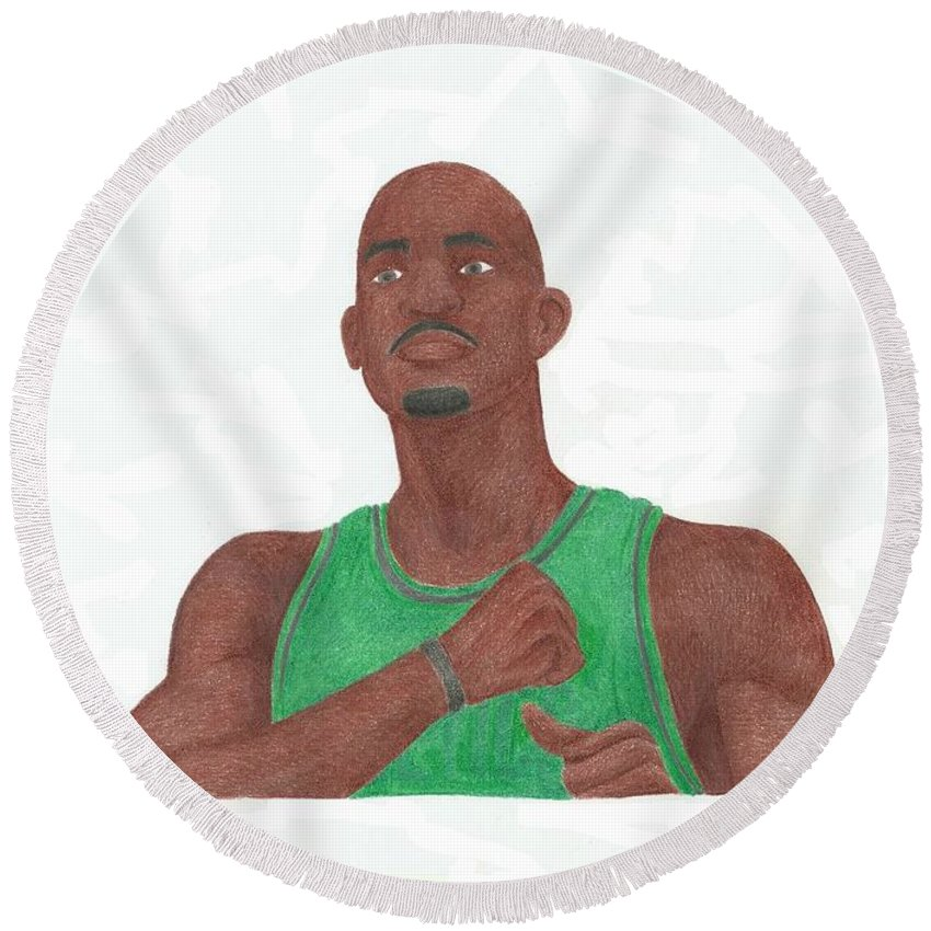 Basketball Round Beach Towel featuring the drawing Kevin Garnett by Toni Jaso